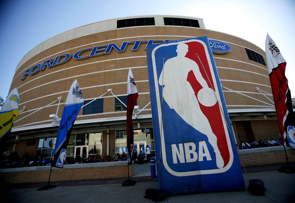 OKLAHOMA CITY THUNDER / NBA BASKETBALL TEAM / REGULAR SEASON OPENING NIGHT: An NBA inflatable sign outside the Ford Center in downtown Oklahoma City on Wednesday, October 29, 2008. By John Clanton, The Oklahoman  ORG XMIT: KOD