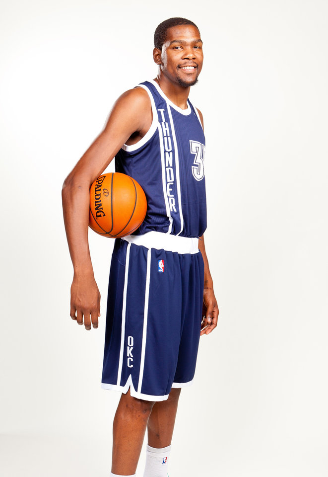 Kevin Durant in the Oklahoma City Thunder\'s alternate uniform. Photo provided by Oklahoma City Thunder.
