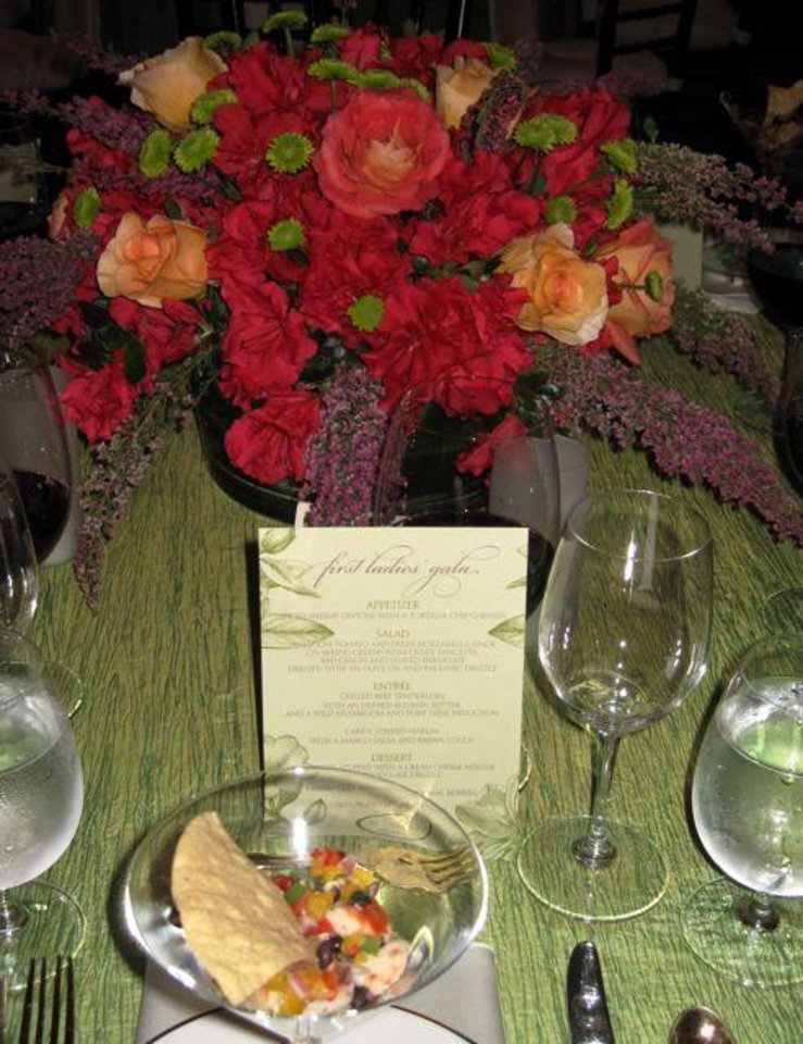 FIRST LADIES GALA....Table centerpiece and the first course of the  dinner. (Photo by Helen Ford Wallace).