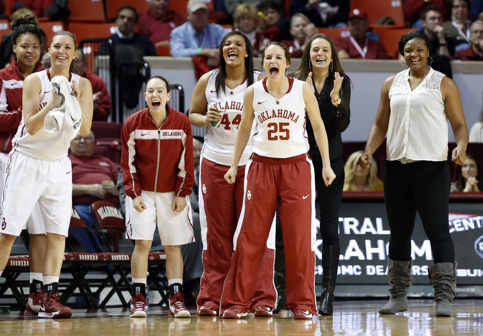 Photo - Oklahoma Sooner's Whitney Hand (25) and teammates cheer as the University of Oklahoma Sooners (OU) play the Kansas Jayhawks in NCAA, women's college basketball at The Lloyd Noble Center on Saturday, March 2, 2013  in Norman, Okla. Photo by Steve Sisney, The Oklahoman