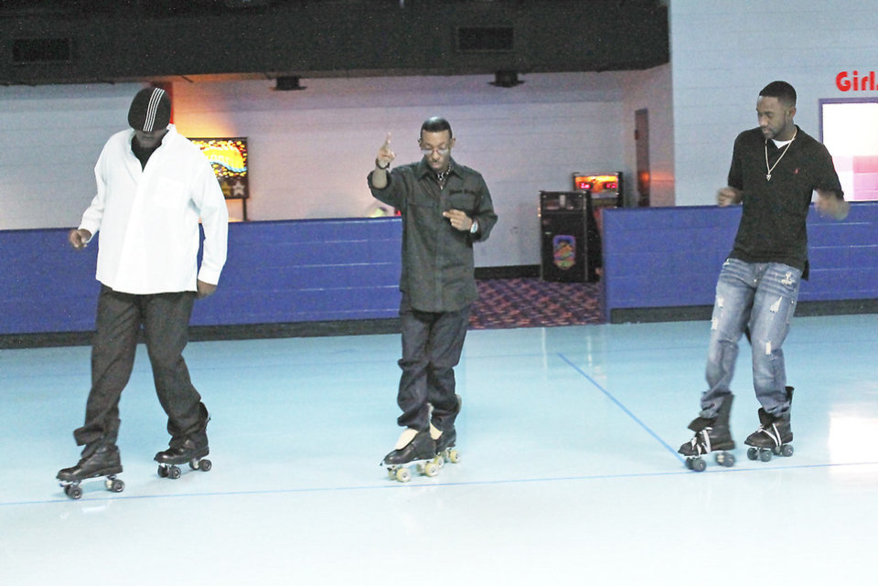 Photo - Members of the After Midnight Strollers practice their rhythm skating moves at Skate Galaxy, 5800 NW 36, in Oklahoma City. Photo by Tiffany Gibson, THE OKLAHOMAN