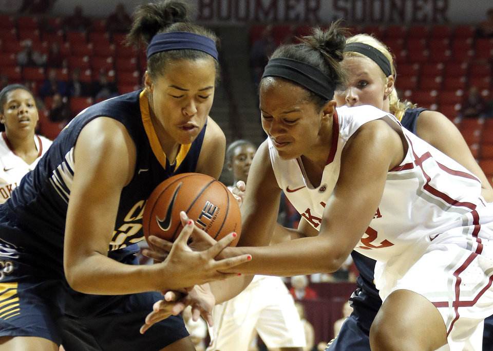 Photo - UCO's Whitney Dunn and Oklahoma's Shaya Kellogg fight for a loose ball during the college women's basketball game between the University of Oklahoma and University of Central Oklahoma at the Lloyd Noble Center in Norman, Okla., Tuesday, Nov. 5, 2013. Photo by Sarah Phipps, The Oklahoman