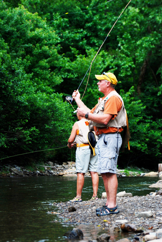 Photo - Fishermen drop their lines in the Mountain Fork River inside Beavers Bend State Park. PHOTO PROVIDED.