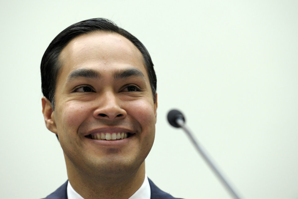 Photo - San Antonio, Texas Mayor Julian Castro testifies on Capitol Hill in Washington, Tuesday, Feb. 5, 2013, before the House Judiciary Committee hearing on America's Immigration System: Opportunities for Legal Immigration and Enforcement of Laws against Illegal Immigration.  (AP Photo/Susan Walsh)