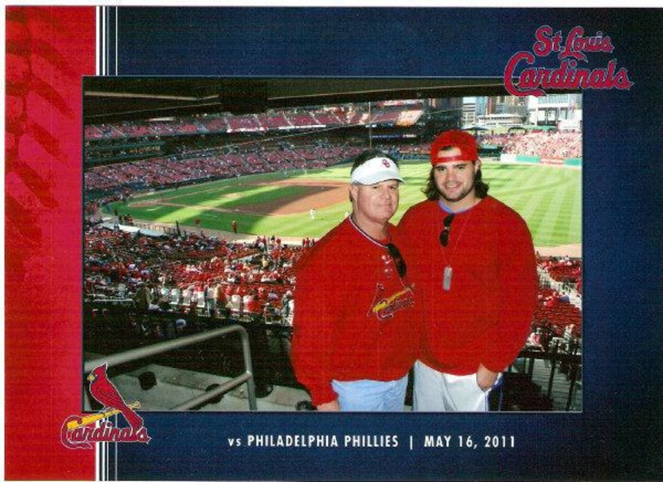 Craig Box and his son, OU linebacker  Austin Box, took a four-day trip to watch a St. Louis Cardinals baseball game in May and returned less than 24 hours before Austin died after taking a combination of five prescription drugs. His dad said Austin showed no signs of drug use or addiction on the trip. <strong>Photo provided - Photo provided</strong>