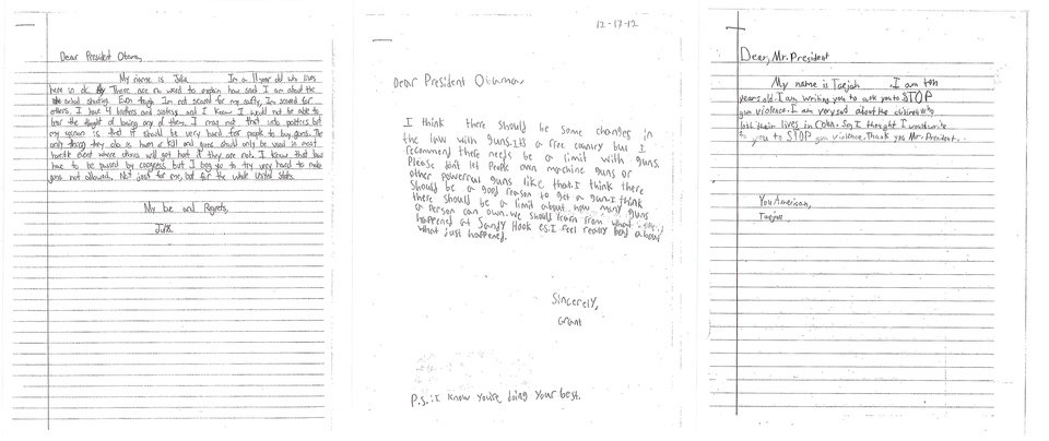 Photo - These letters, provided by the White House, from children, from left, Julia, 11, of Washington; Grant, 8, of Maryland, and Taejah, 10 of Georgia; ask President Barack Obama to change gun laws. On Wednesday, when the president makes his long-awaited announcement of proposals to reduce gun violence, he will be joined by Grant, Tajeah and other children from across the U.S. who expressed their concerns about gun violence and school safety to the one person they think can make a difference: the president. (AP Photo/White House)   ORG XMIT: WX104