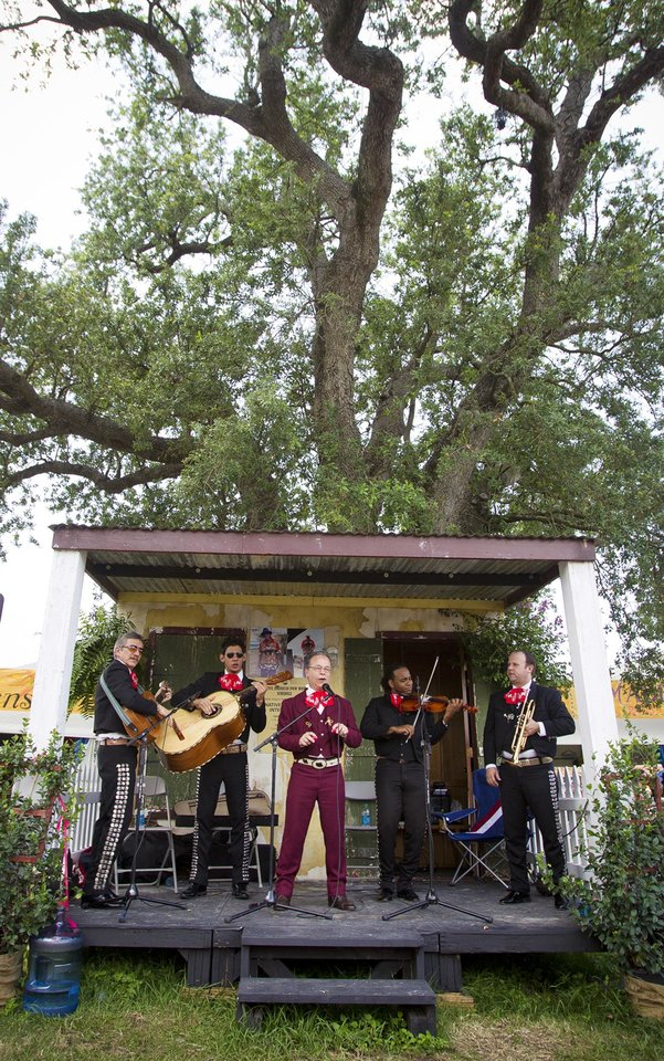 Photo -   Maraci Jalisco plays on the Folklife Stage during the New Orleans Jazz and Heritage Festival Saturday, May 5, 2012 in New Orleans. (AP Photo/The Times-Picayune, Chris Granger) MAGS OUT; NO SALES; USA TODAY OUT
