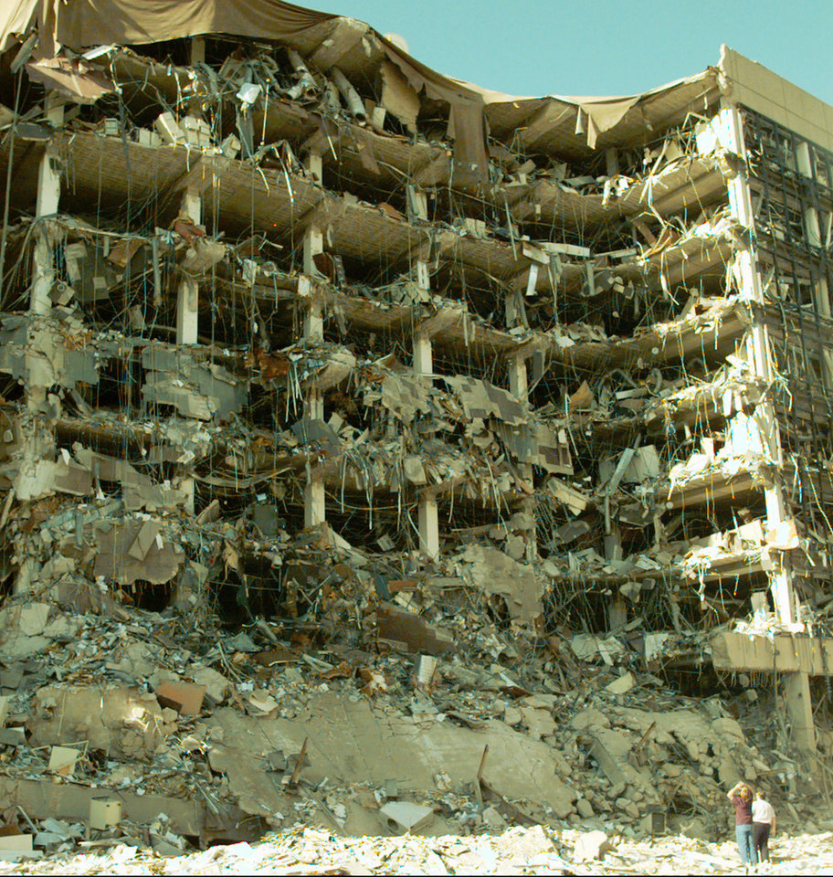 Photo -  On April 19, 1995, a car bomb exploded at the Alfred P. Murrah Federal Building. [AP Photo]