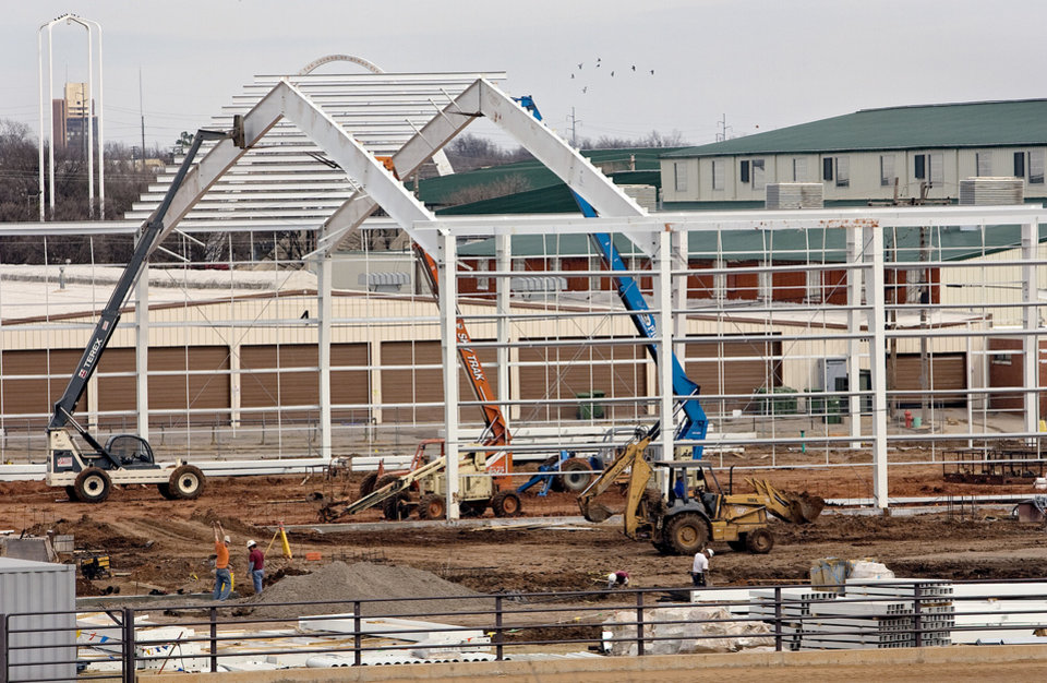 Crews work on the newest addition to the horse barns at State Fair Park on Monday, Feb. 25, 2008, in Oklahoma City, Okla.   BY CHRIS LANDSBERGER, THE OKLAHOMAN