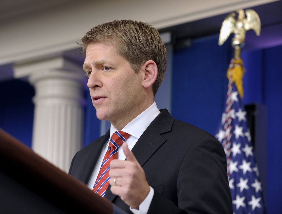 Photo - FILE - In this Jan. 12, 2012 file photo,  White House Press Secretary Jay Carney speaks during the daily briefing at the White House in Washington. Tensions flaring, the Obama administration warns Iran through public and private channels against any action that threatens the flow of oil from the Persian Gulf. Some experts fear the risk of open conflict with Tehran appears higher than at any point since President Barack Obama took office, perhaps from U.S. moves to enforce open shipping through the Strait of Hormuz or even a military strike from Israel.  (AP Photo/Susan Walsh, File) ORG XMIT: WX106