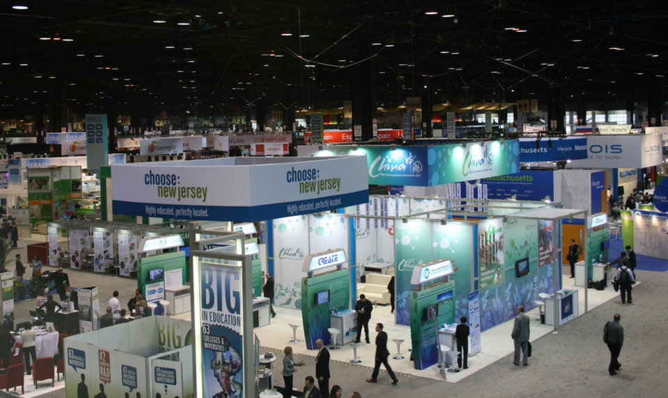 An overview of the floor at the 2013 BIO Convention in Chicago shows booths from a variety of nations and states. Photo provided by JIM STAFFORD