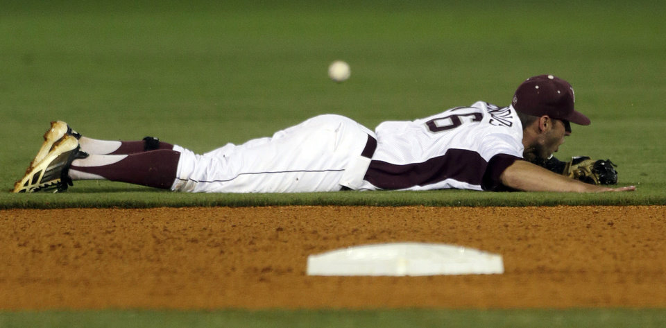 Photo - Texas A&M shortstop Mikey Reynolds can't get to the ground ball in the first inning of their Southeastern Conference Tournament NCAA college baseball game against Mississippi State at the Hoover Met in Hoover, Ala., Thursday, May 23, 2013. (AP Photo/Dave Martin)