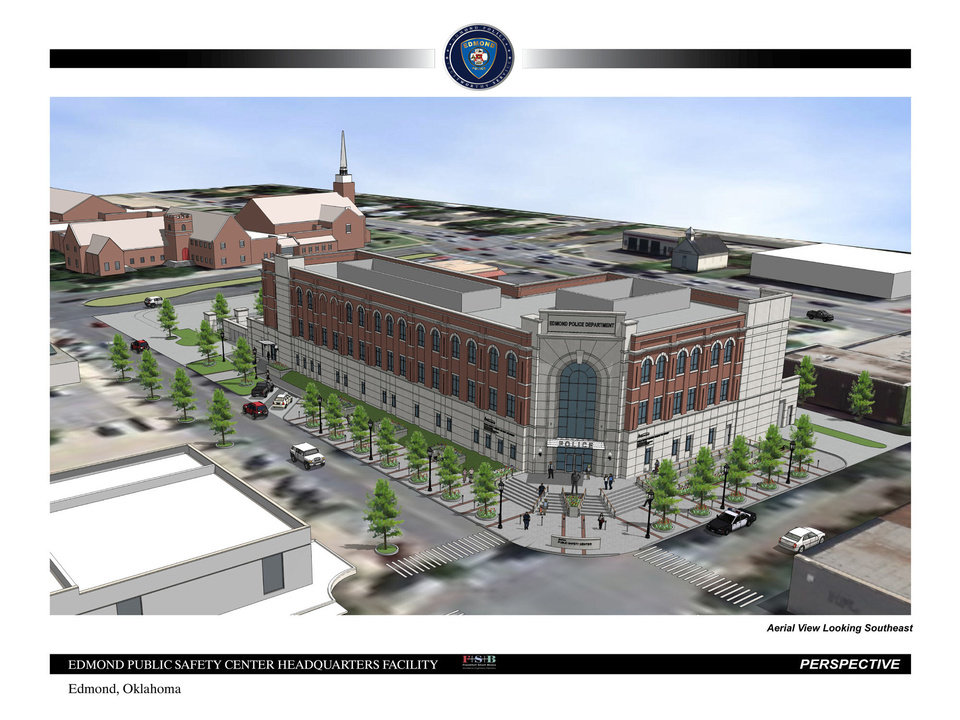 Photo - Final plans for Edmond's new public safety center were presented to the senior steering committee. City officials expect to go out for bids on May 20. Frankfurt Short Bruza architects project the building to be constructed downtown will be completed by May 1, 2015. ARCHITECT DRAWING PROVIDED. FRANKFURT SHORT BRUZA.  PROVIDED