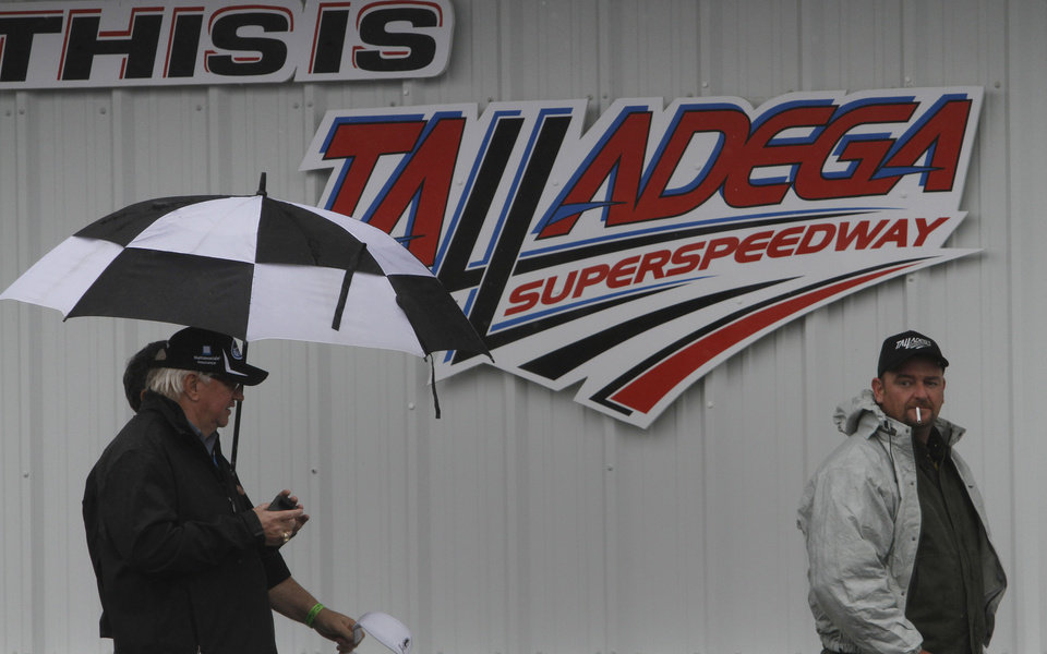 Photo - Rain showers are dampening the activities at Talladega Superspeedway in Talladega, Ala., Saturday, May 4, 2013. Rain threatens Saturday's qualifying for Sunday's NASCAR Sprint Cup series Aaron's 499 auto race. (AP Photo/Butch Dill)