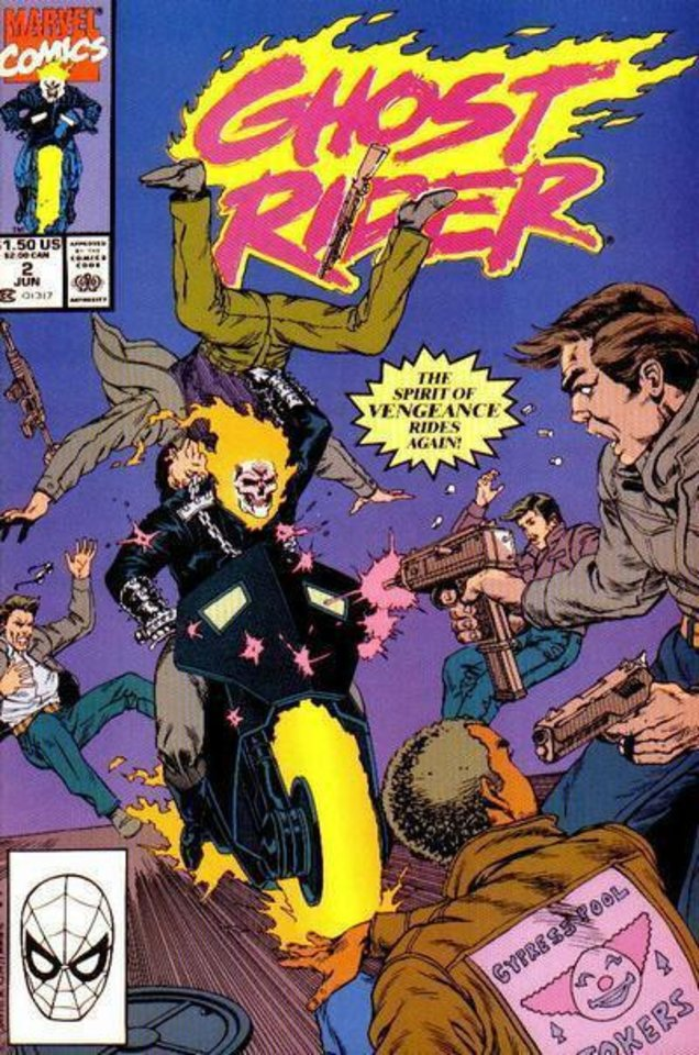 "The cover to ""Ghost Rider"" No. 2 from 1990, featuring art by Javier Saltares.  Marvel Comics. <strong></strong>"