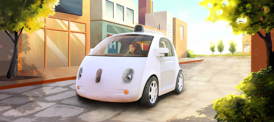 Photo - This image provided by Google shows an artistic rendering of the company's self-driving car. The two-seater won't be sold publicly, but Google on Tuesday, May 27, 2014 said it hopes by this time next year, 100 prototypes will be on public roads. (AP Photo/Google)