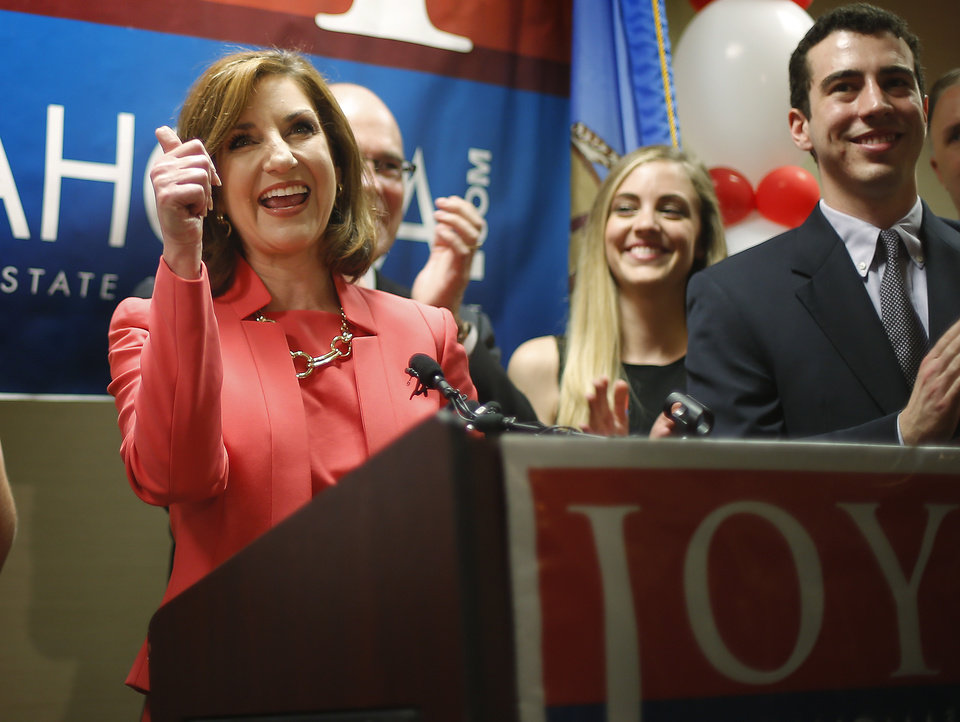 Photo - Joy Hofmeister reacts following a speech to supporters after winning the Republication nomination for Oklahoma state school superintendent in Oklahoma City, Tuesday, June 24, 2014. Photo by Bryan Terry, The Oklahoman