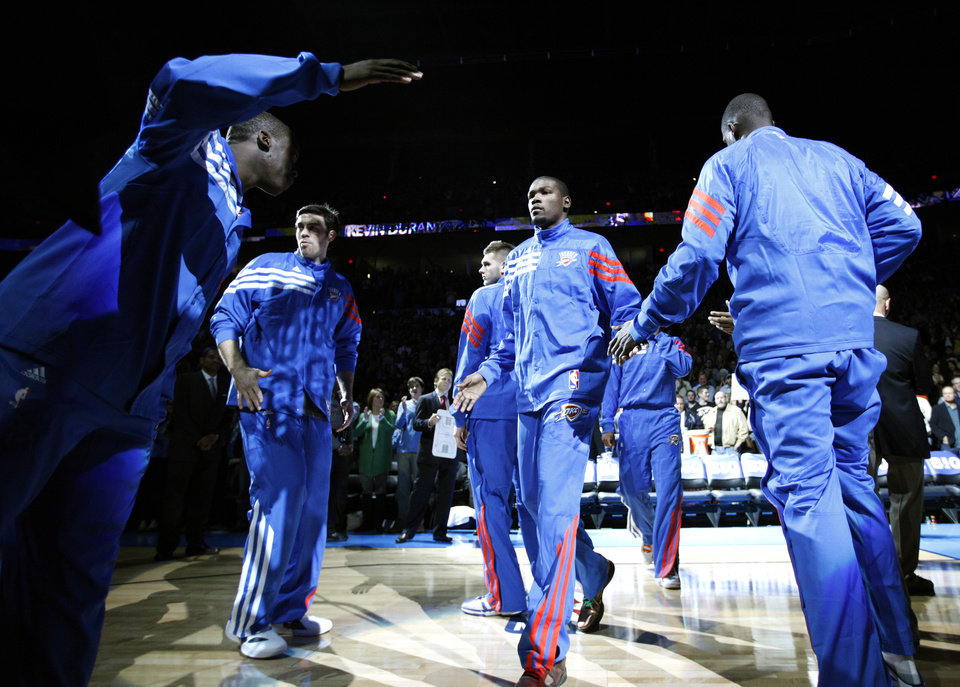 Oklahoma City's Kevin Durant is introduced before  the opening day NBA basketball game between the Oklahoma CIty Thunder and the Orlando Magic at Chesapeake Energy Arena in Oklahoma City, Sunday, Dec. 25, 2011. Photo by Sarah Phipps, The Oklahoman
