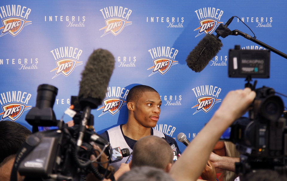 Photo - Russell Westbrook during media interview after the Thunder practice Sunday, June 10, 2012. Photo by Doug Hoke, The Oklahoman