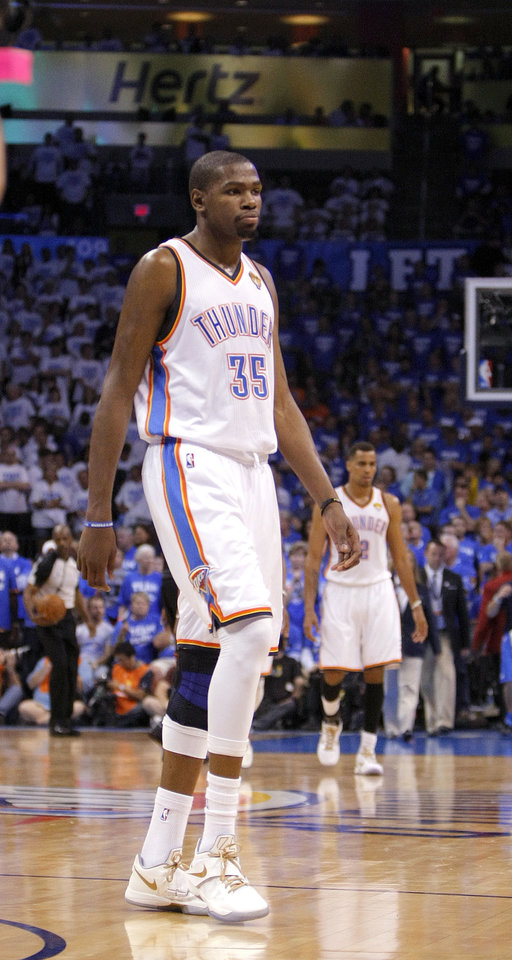 Photo - Oklahoma City's Kevin Durant (35) walks off the court in the final minute of Game 2 of the NBA Finals between the Oklahoma City Thunder and the Miami Heat at Chesapeake Energy Arena in Oklahoma City, Thursday, June 14, 2012. Photo by Sarah Phipps, The Oklahoman