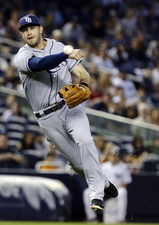 Tampa Bay Rays third baseman Evan Longoria attempts to throw out New York Yankees' David Adams during the fourth inning of a baseball game on Friday, June 21, 2013, in New York. Adams reached first base for a single and a runner scored on the play. (AP Photo/Frank Franklin II)