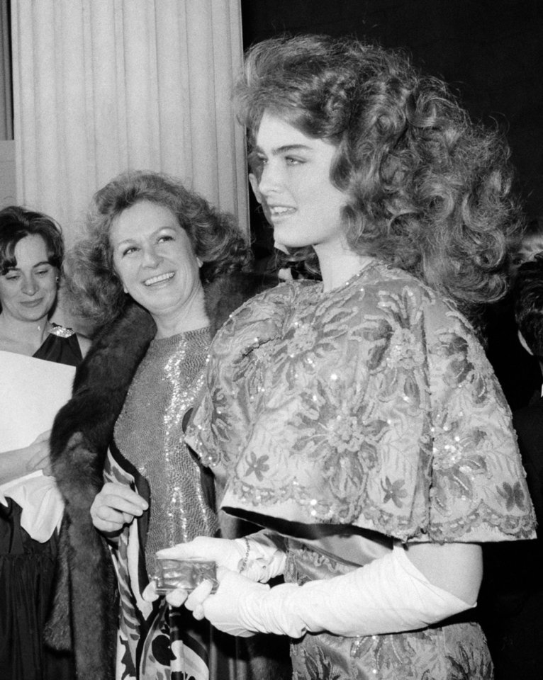 FILE - This 1983 file photo shows actress and model Brooke Shields, right with her mother Teri in New York. Teri Shields, who launched daughter Brooke�s on-camera career when she was a baby and managed the young star into her 20s, died last week in New York City. Jill Fritzo, a spokeswoman for Brooke Shields, confirmed the death on Tuesday, Nov. 6, 2012. The New York Times reports that the elder Shields died following a long illness related to dementia. She was 79. (AP Photo/Ron Frehm, file)