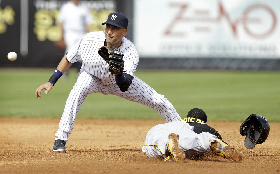 Photo - New York Yankees shortstop Derek Jeter waits for the ball before tagging out Pittsburgh Pirates' Josh Harrison, right, during a stolen base attempt in the fifth inning of an exhibition baseball game Thursday, Feb. 27, 2014, in Tampa, Fla. (AP Photo/Charlie Neibergall)
