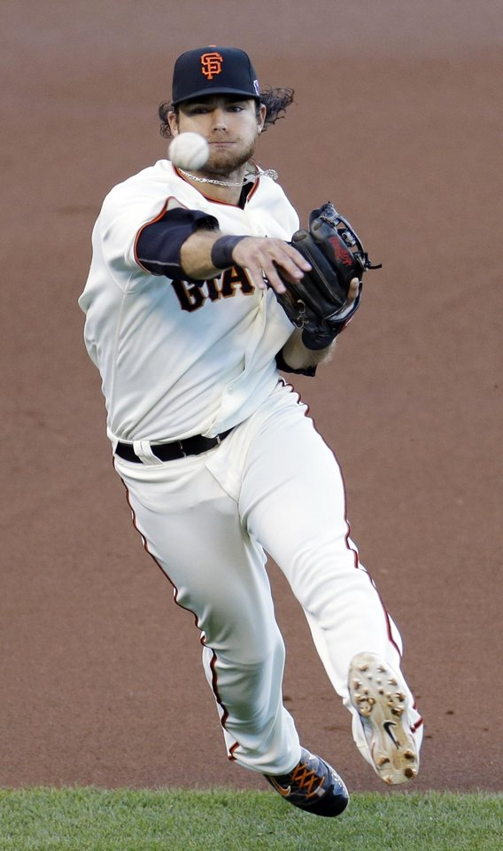 Photo -   San Francisco Giants' Brandon Crawford makes a play on a ball hit by St. Louis Cardinals' Yadier Molina during the first inning of Game 2 of baseball's National League championship series Monday, Oct. 15, 2012, in San Francisco. (AP Photo/Eric Risberg)