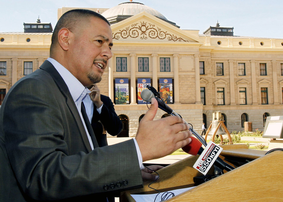 File-This Nov. 1, 2011 file photo shows Sen. Steve Gallardo, D-Phoenix, holds a news conference at the Arizona Capitol, in Phoenix. Gallardo a veteran Arizona legislator who is running for the open U.S. House seat being vacated by the retirement of Rep. Ed Pastor told reporters Wednesday, March 5, 2014 that he is gay.  Gallardo said he felt the need to come out publicly partly because of the recent battle against a bill approved by the Arizona Legislature that would have allowed businesses to refuse service to gays based on religious beliefs. (AP Photo/Ross D. Franklin,File)