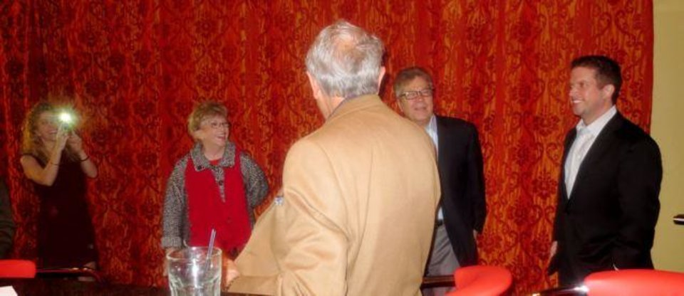 Guests of honor arrive at the surprise anniversary party. (Photo by Helen Ford Wallace).