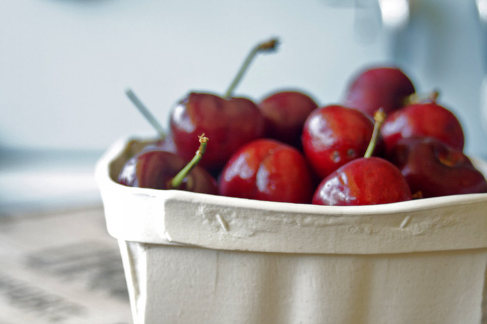 "Photo - This 2014 photo provided by the Philadelphia Art Alliance shows a porcelain cherry basket created by artist Gregg Moore on display at the museum in a show called ""Heirloom,"" in Philadelphia. Moore's fine ceramic pottery is used in a seven-course $150 dinner served at the museum and created by chef Pierre Calmels, called ""Table d'Hote."" Moore says the art _ part of a movement called social practice art _ is created by the experience of the food, ceramics, museum space and people sharing the meal. (AP Photo/Philadelphia Art Alliance)"