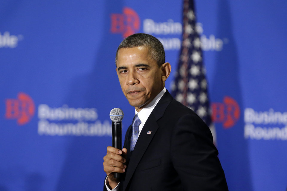 President Barack Obama pauses as he speaks about the fiscal cliff at the Business Roundtable, an association of chief executive officers, in Washington, Wednesday, Dec. 5, 2012. The president warned Republicans not to create another fight over the nation\'s debt ceiling, telling business leaders it\'s