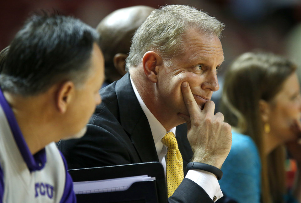 TCU coach Jeff Mittie watches during a women's college basketball game between the University of Oklahoma and TCU at the Llyod Noble Center in Norman, Okla., Wednesday, Jan. 30, 2013. Oklahoma won 74-53. Photo by Bryan Terry, The Oklahoman