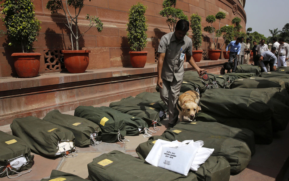 Photo - A sniffer dog inspects sacks containing copies of the 2014-15 union budget at the Indian parliament in New Delhi, Thursday, July 10, 2014. India's new government has introduced an ambitious reform-minded budget focusing on promoting manufacturing and infrastructure, raising the tax base and overhauling populist subsidies. (AP Photo/Manish Swarup)