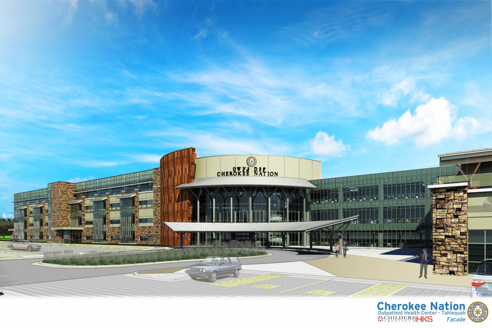 Photo -  An artist's rendering of a planned outpatient care facility in Tahlequah. The facility is the latest Cherokee Nation project to improve access to health care. [Provided by Cherokee Nation]