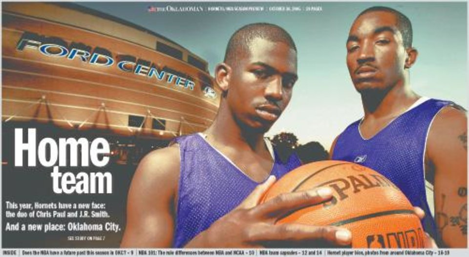 Photo - HORNETS SEASON PREVIEW SPECIAL SECTION COVER GRAPHIC with photo: Chris Paul, left and J.R. Smith of the New Orleans/Oklahoma City Hornets NBA basketball team in front of the Ford Center in Oklahoma City, October 17, 2005.  By Bryan Terry/The OKlahoman