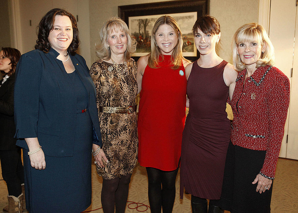 Shannon Evers, Anne Gray, Jenna Bush Hager, Barbara Pierce Bush, Myrla Pierson.  PHOTOS BY PAUL HELLSTERN, THE OKLAHOMAN