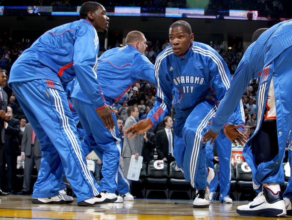 Oklahoma City\'s Kevin Durant (35) is introduced during the NBA basketball game between the Oklahoma City Thunder and the Indiana Pacers at the Oklahoma City Arena, Wednesday, March 2, 2011. Photo by Bryan Terry, The Oklahoman