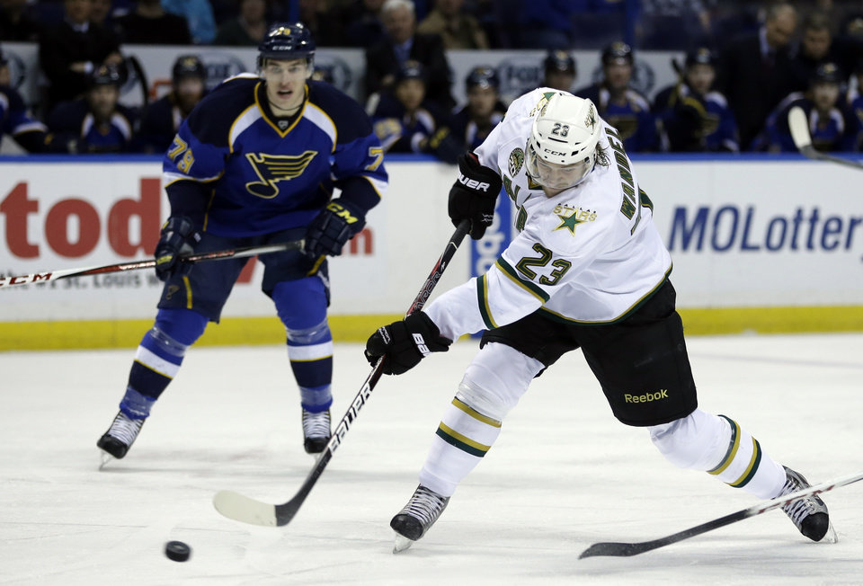 Photo - Dallas Stars' Tom Wandell, of Sweden, shoots as St. Louis Blues' Adam Cracknell, left, watches during the first period of an NHL hockey game on Friday, April 19, 2013, in St. Louis. (AP Photo/Jeff Roberson)