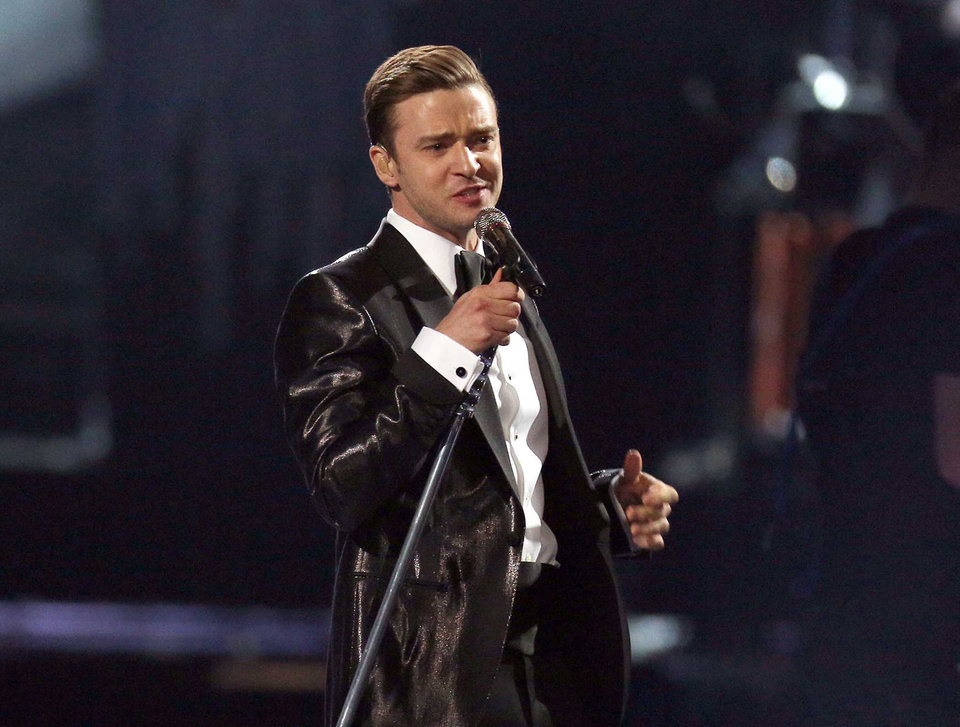 Photo - FILE - This Feb. 20, 2013 file photo shows Justin Timberlake during the BRIT Awards 2013 in London.  Timberlake's