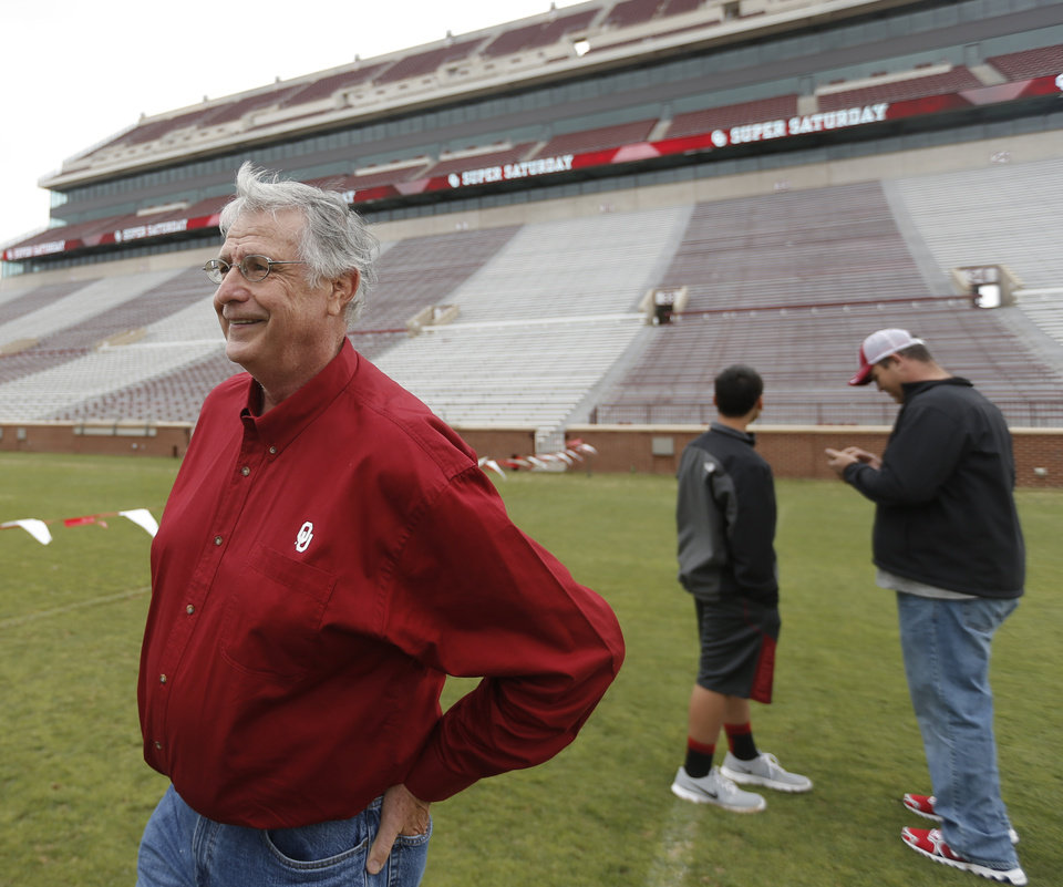 Photo - Kent Deligans looks at the Owen Field during a tour of the University of Oklahoma football facilities in Norman, Okla., Saturday, April 27, 2013. Photo by Sarah Phipps, The Oklahoman