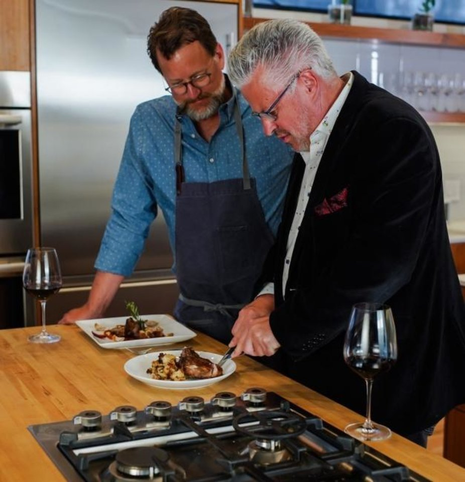 Photo -  Michel Buthion of La Baguette samples one of Fleischfresser's pork chop dishes on GoodvsGourmet.com. [PROVIDED BY OKLAHOMA NATURAL GAS]