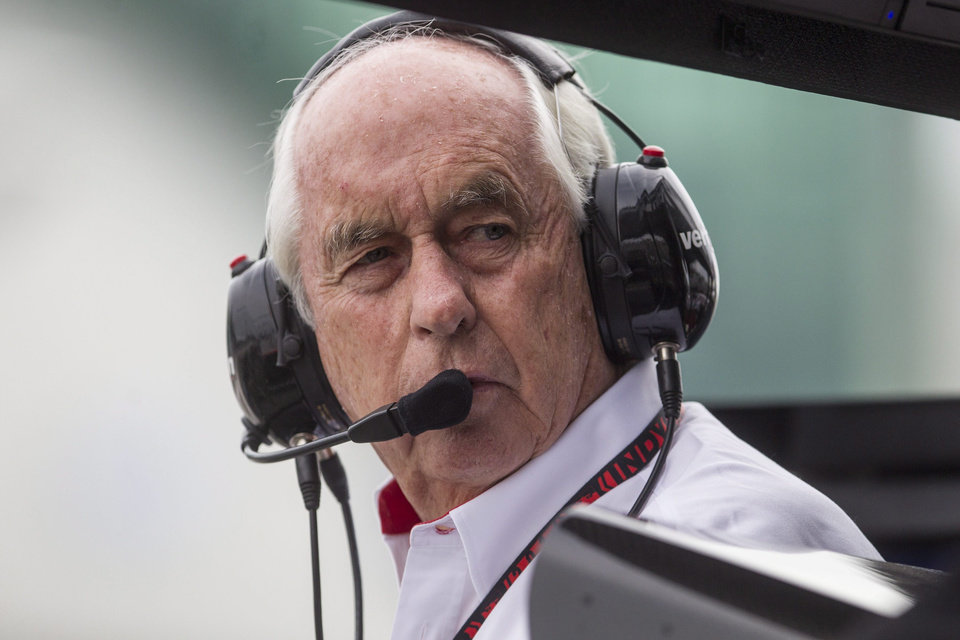 Photo - Roger Penske, owner of Team Penske, stands in the pits during a qualifying session for the IndyCar auto race in Toronto on Saturday, July 19, 2014.  (AP Photo/The Canadian Press, Chris Young)