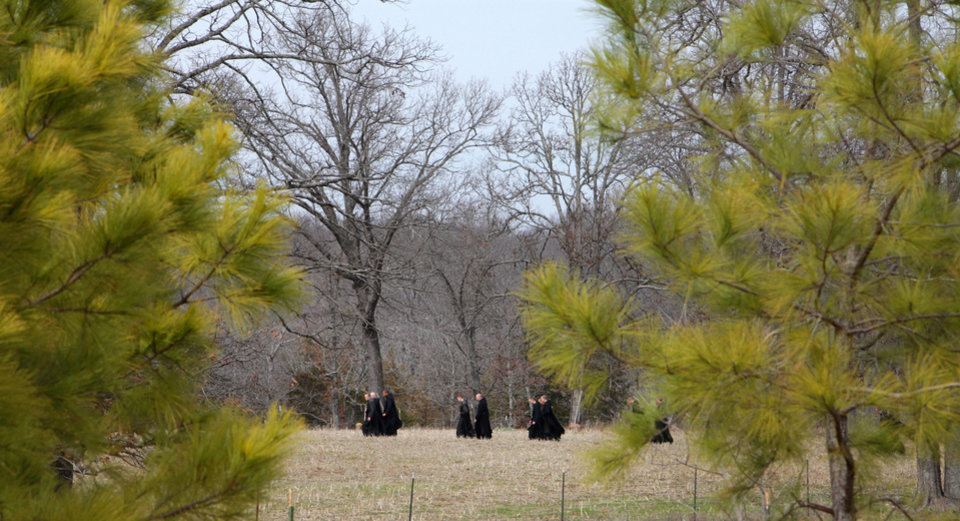 Photo - Monks take a walk after lunch at Clear Creek Monastery, Thursday, March 14, 2013. Special Easter Sunday package about monks at Benedictine monastery at Our Lady of Clear Creek Abbey near Hulbert.  Reporters are Bryan Painter and Carla Hinton.Photo By David McDaniel/The Oklahoman