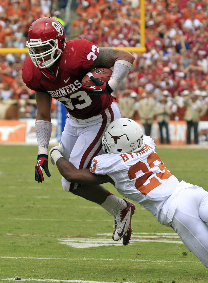 Photo -   Oklahoma fullback Trey Millard (33) is grabbed by Texas cornerback Carrington Byndom (23) during the first half of an NCAA college football game at the Cotton Bowl Saturday, Oct. 13, 2012, in Dallas. (AP Photo/LM Otero)