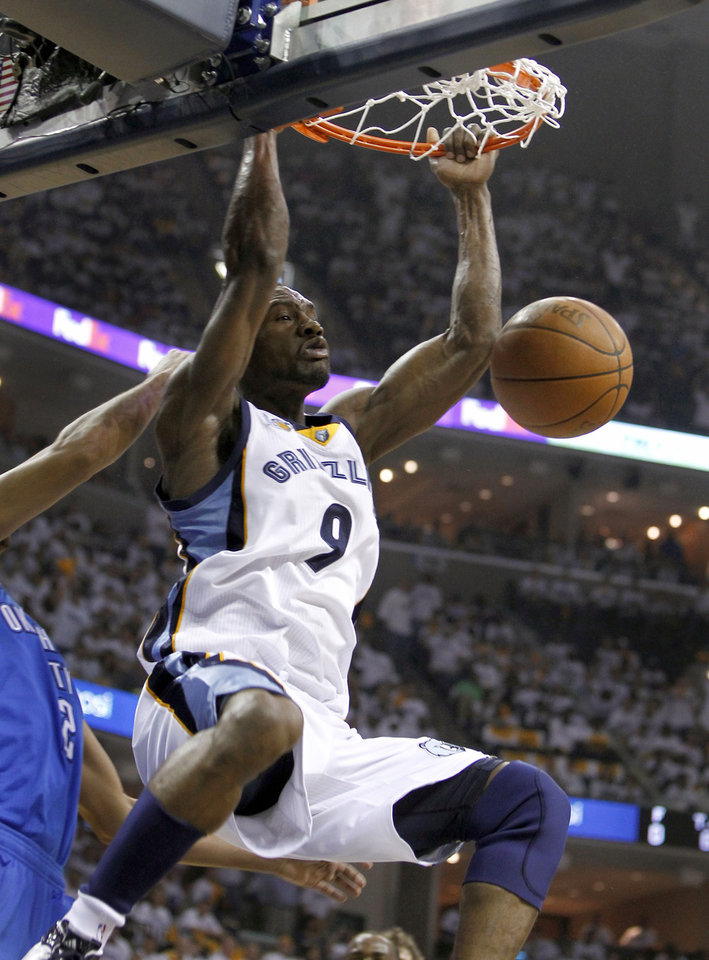 Memphis Grizzlies guard Tony Allen dunks against the Oklahoma City Thunder during the first half of Game 4 of a second-round NBA basketball playoff series, Monday, May 9, 2011, in Memphis, Tenn. (AP Photo/Wade Payne)