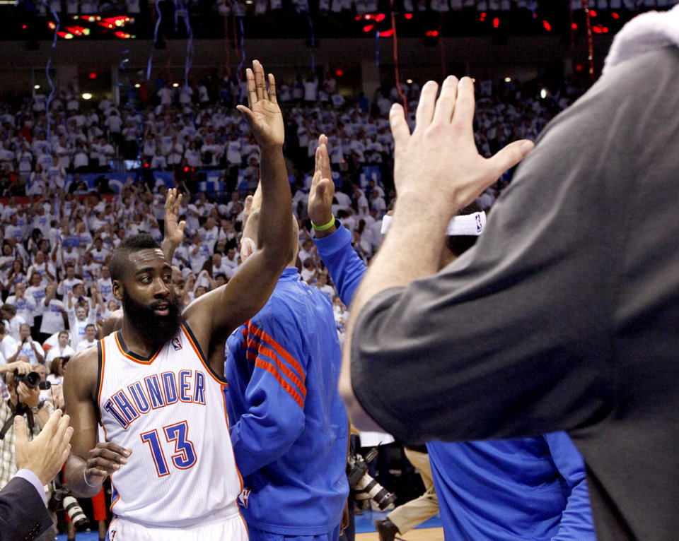 Oklahoma City's James Harden (13) celebrates following Game 2 of the first round in the NBA basketball playoffs between the Oklahoma City Thunder and the Dallas Mavericks at Chesapeake Energy Arena in Oklahoma City, Monday, April 30, 2012. Photo by Sarah Phipps, The Oklahoman