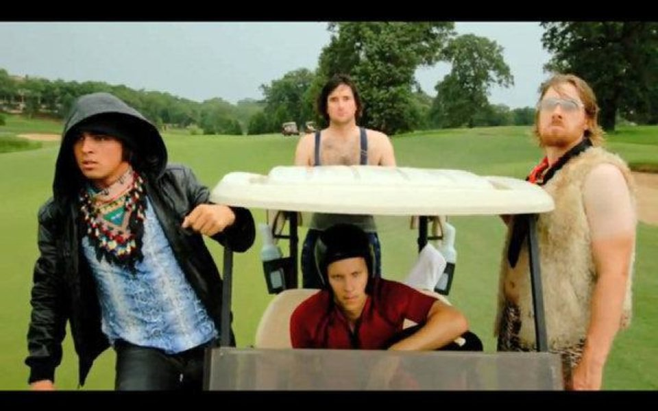 "Former Oklahoma State golfers Rickie Fowler, left, and Hunter Mahan, right, joined fellow PGA golfers Ben Crane, lower middle, and Bubba Watson, upper middle, in the Golf Boys new music video ""Oh Oh Oh"". <strong></strong>"