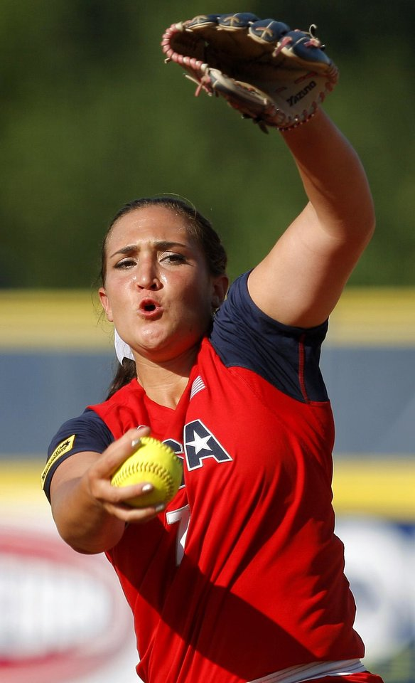 Team USA's Jordan Taylor pitches during a World Cup of Softball game between Team USA and Australia at ASA Hall of Fame Stadium in Oklahoma City, Friday, June 29, 2012. USA won 3-1. Photo by Bryan Terry, The Oklahoman
