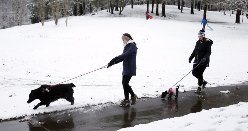Photo - Dog walkers enjoy the early Friday morning snow in Oxford, Miss., Jan. 22, 2016. Although the snow ceased falling, temperatures are expected to drop in the afternoon making for hazardous driving in north Mississippi. (AP Photo/Rogelio V. Solis)